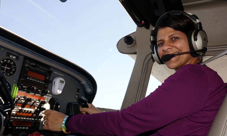 Passenger Tereza McCabe being flown by Pilot Alan Hoffberg