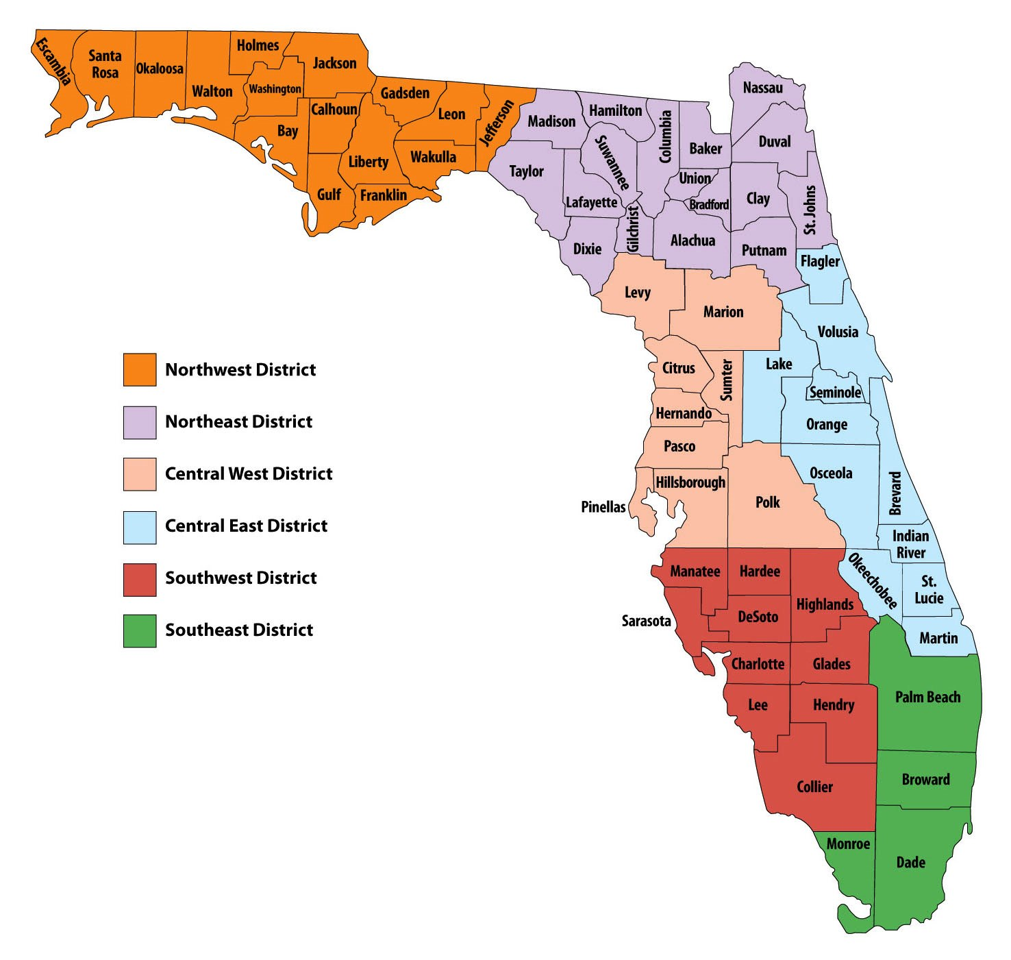 Florida County Map Angel Flight Southeast